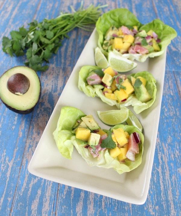 Mango Avocado Ahi Lettuce Wraps