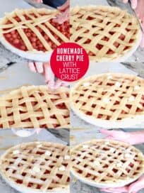 collage of images showing how to make a lattice crust on a pie