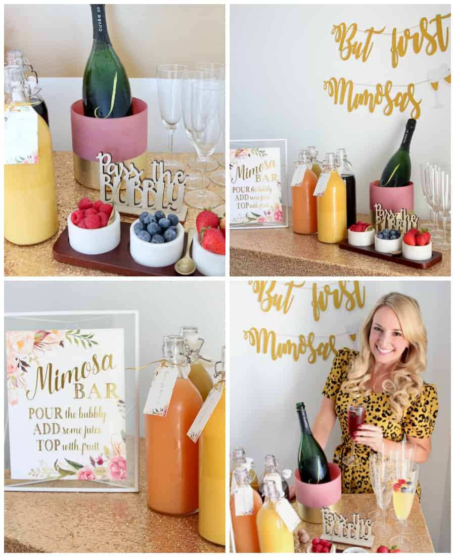 Collage of images showing how to make your own mimosa bar
