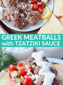 Greek meatballs on plate with cucumber tomato salad and tzatziki sauce