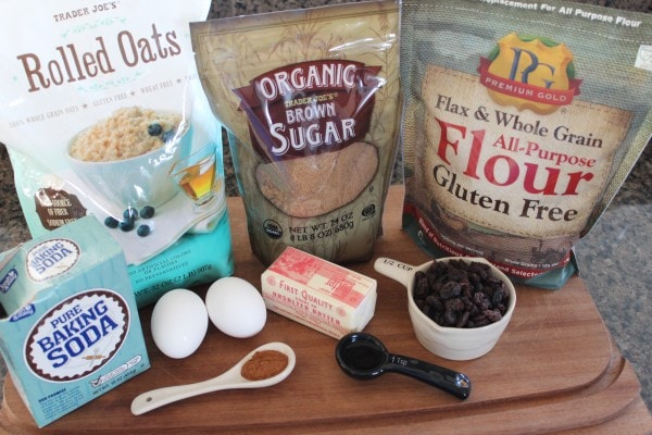 Gluten Free Oatmeal Raisin Cookie Ingredients