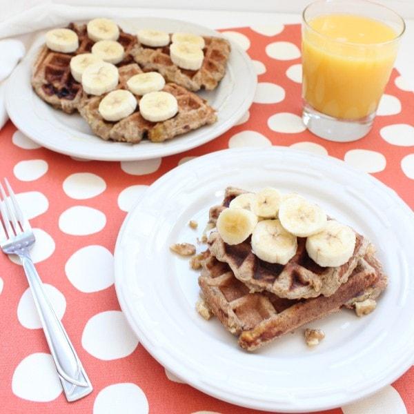 Gluten Free Banana Walnut Waffles