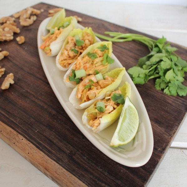 Walnut Thai Chicken Salad on Endive Spears