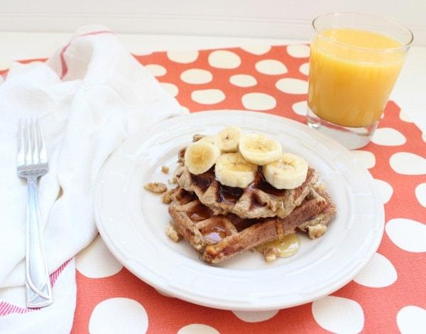 Dairy Free Banana Walnut Waffles