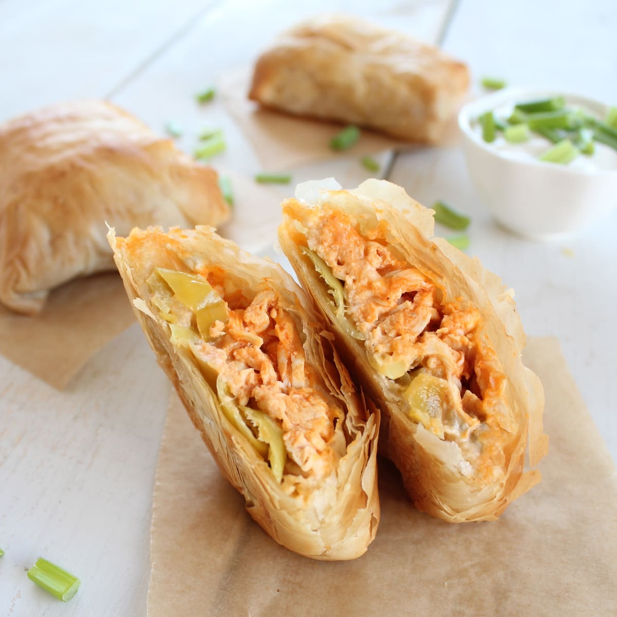 Buffalo chicken phyllo rolls recipe for Phyllo dough recipes appetizers indian