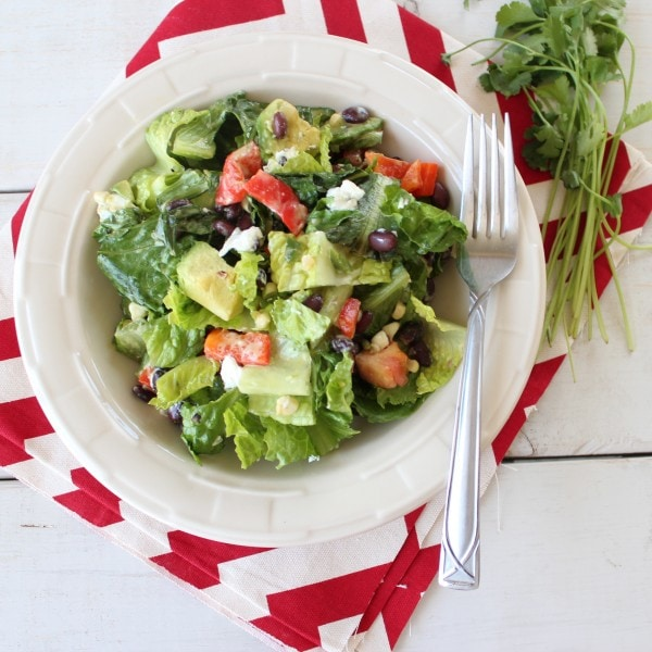 Grilled Romaine Mexican Chopped Salad with Honey Lime Dressing