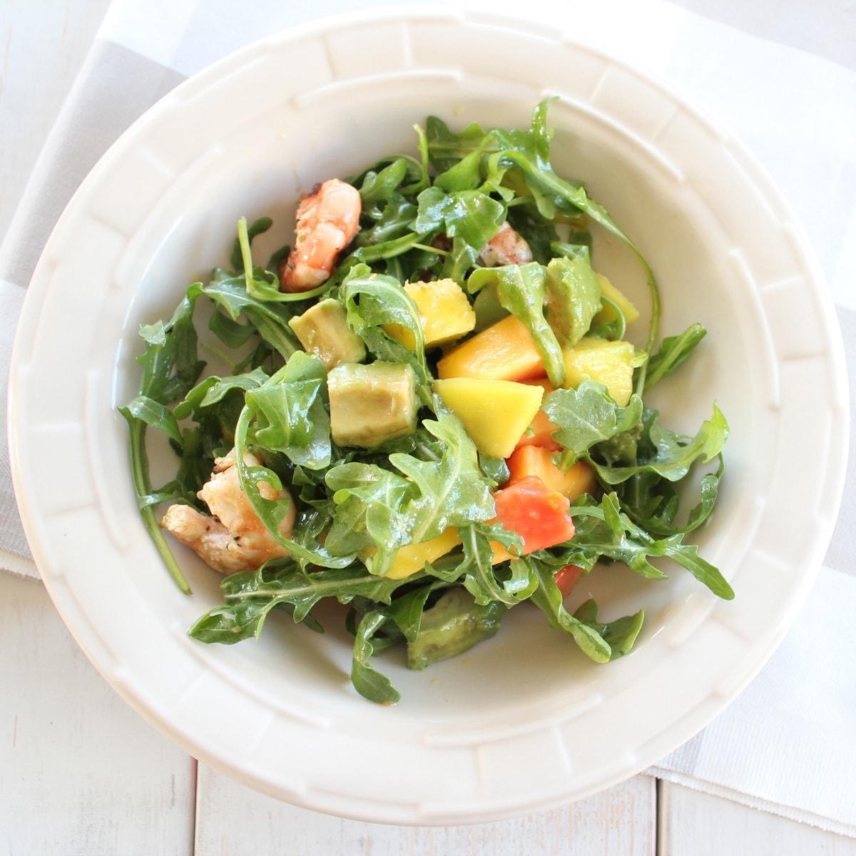 This Shrimp Mango Arugula Salad combines delicious fruit, with creamy ...