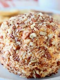 Buffalo cream cheese ball rolled in crushed pecans