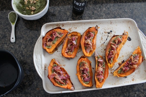 Paleo Bacon Pesto Sweet Potato Skins