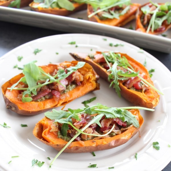 Bacon Arugula Stuffed Sweet Potato Skins
