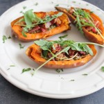 Paleo Sweet Potato Skins with Sage Pesto and Bacon