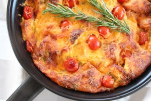 Tomato Herb Skillet Bread Pudding