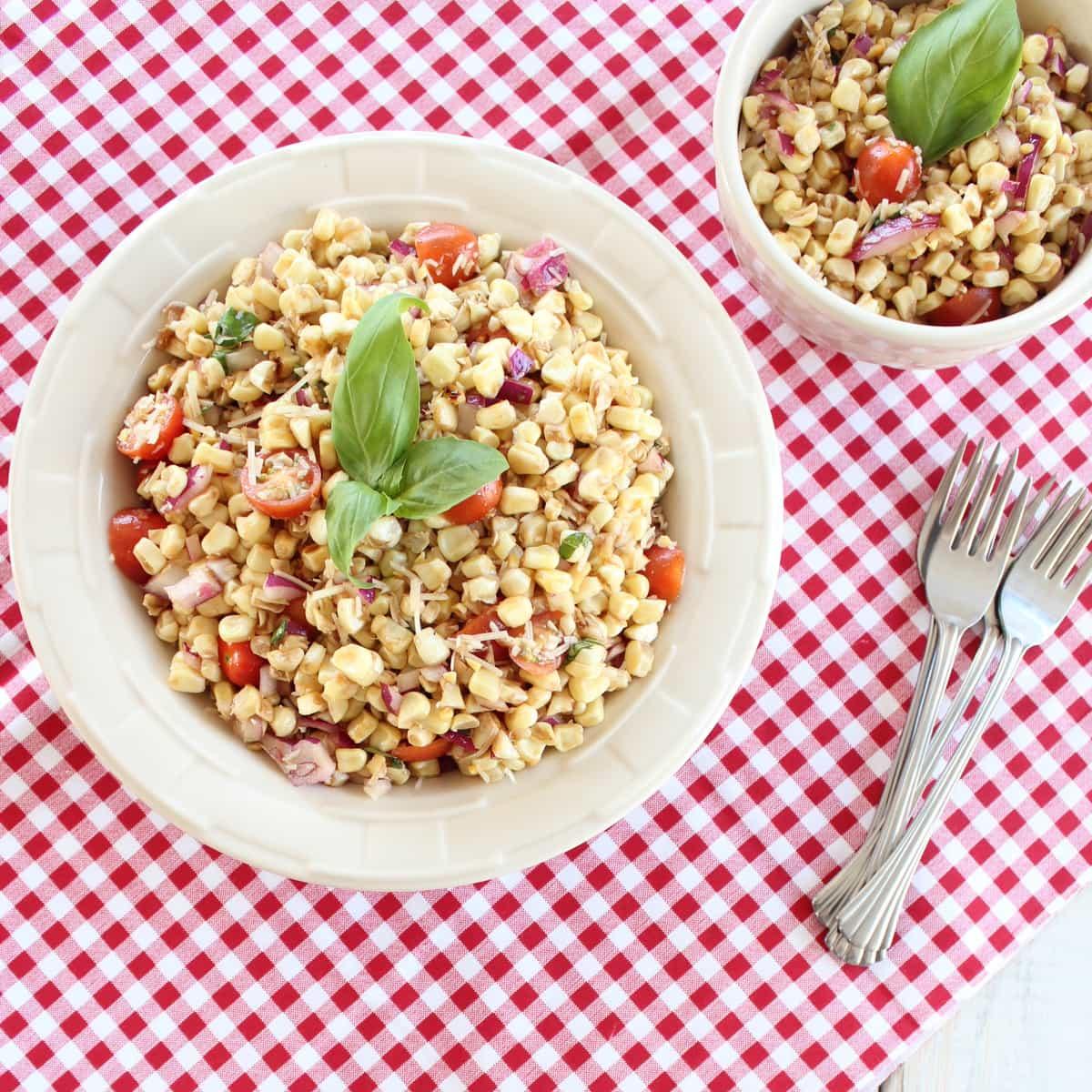 Italian Corn Salad combines fresh tomatoes, basil, grilled corn and ...