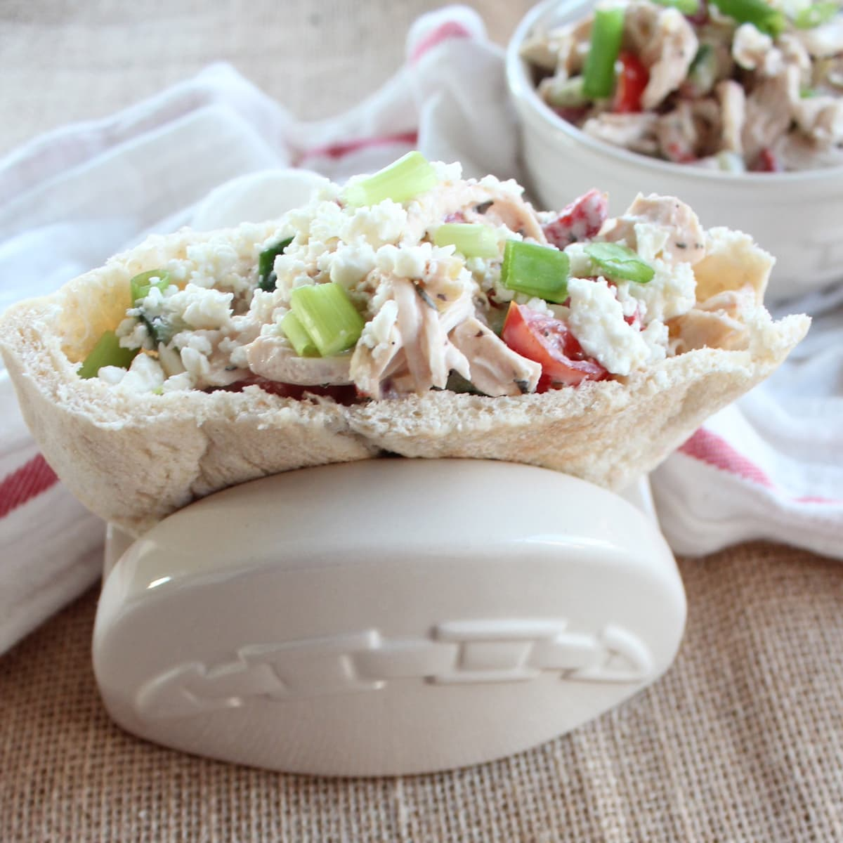 ... feta cheese in this delicious homemade Greek Chicken Salad Sandwich