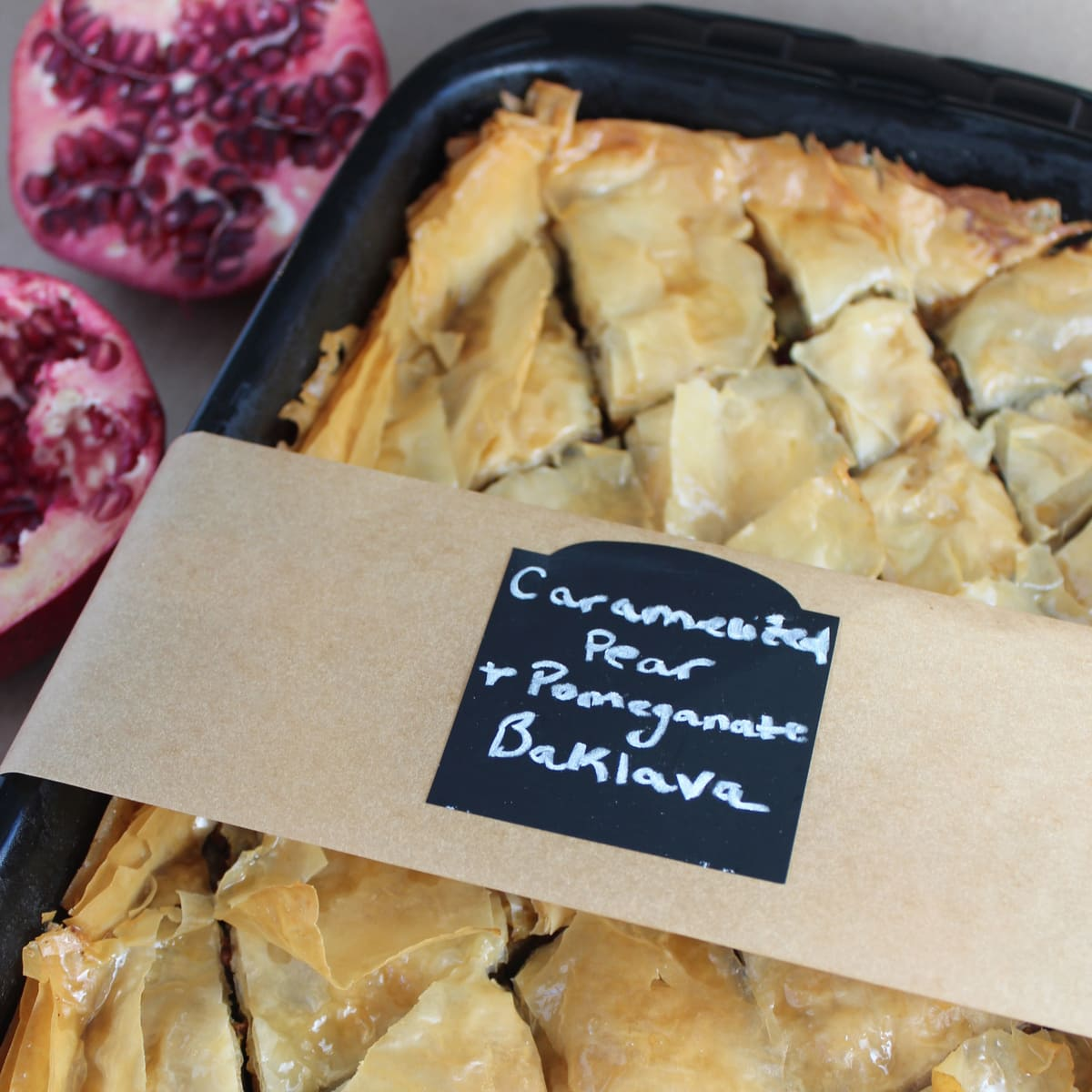 Caramelized Pear and Pomegranate Baklava