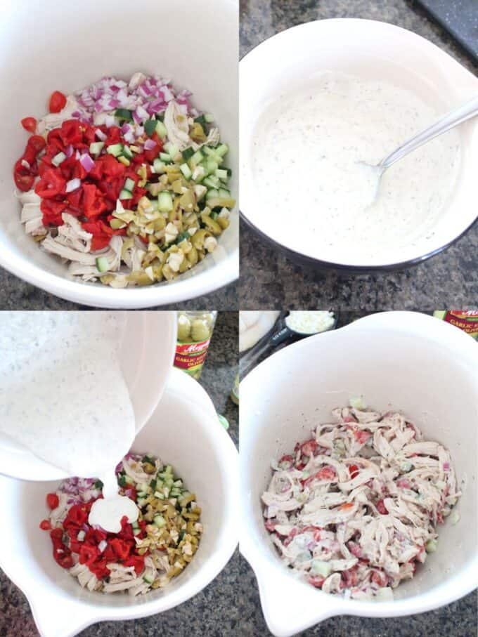 collage of images showing how to make greek chicken salad