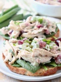 Chicken salad on toast with spinach and cherries on a white round plate