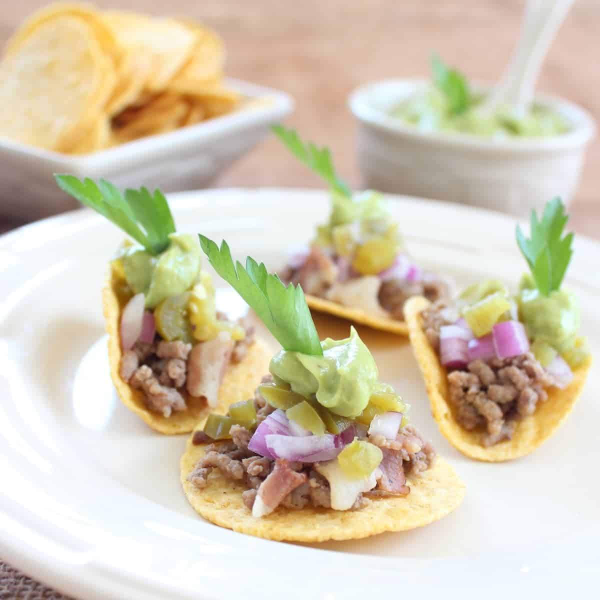 Mini Tacos with Avocado Cream Sauce