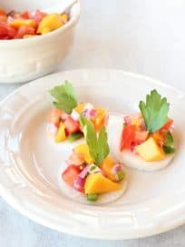 Raw Jicama Chips with Mango Relish