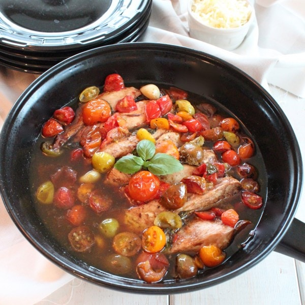 Skillet Heirloom Tomato and Balsamic Chicken