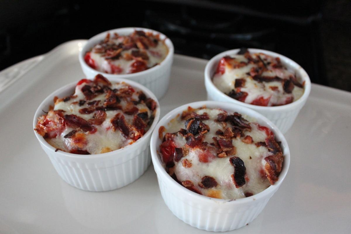 Mini Polenta Pizzas topped with Roasted Tomatoes, Pesto, Parmesan and ...