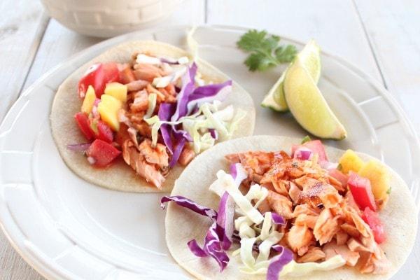 Chipotle Honey Salmon Tacos with Mango Salsa