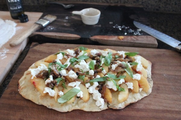 Peach Basil Flatbread with Goat Cheese