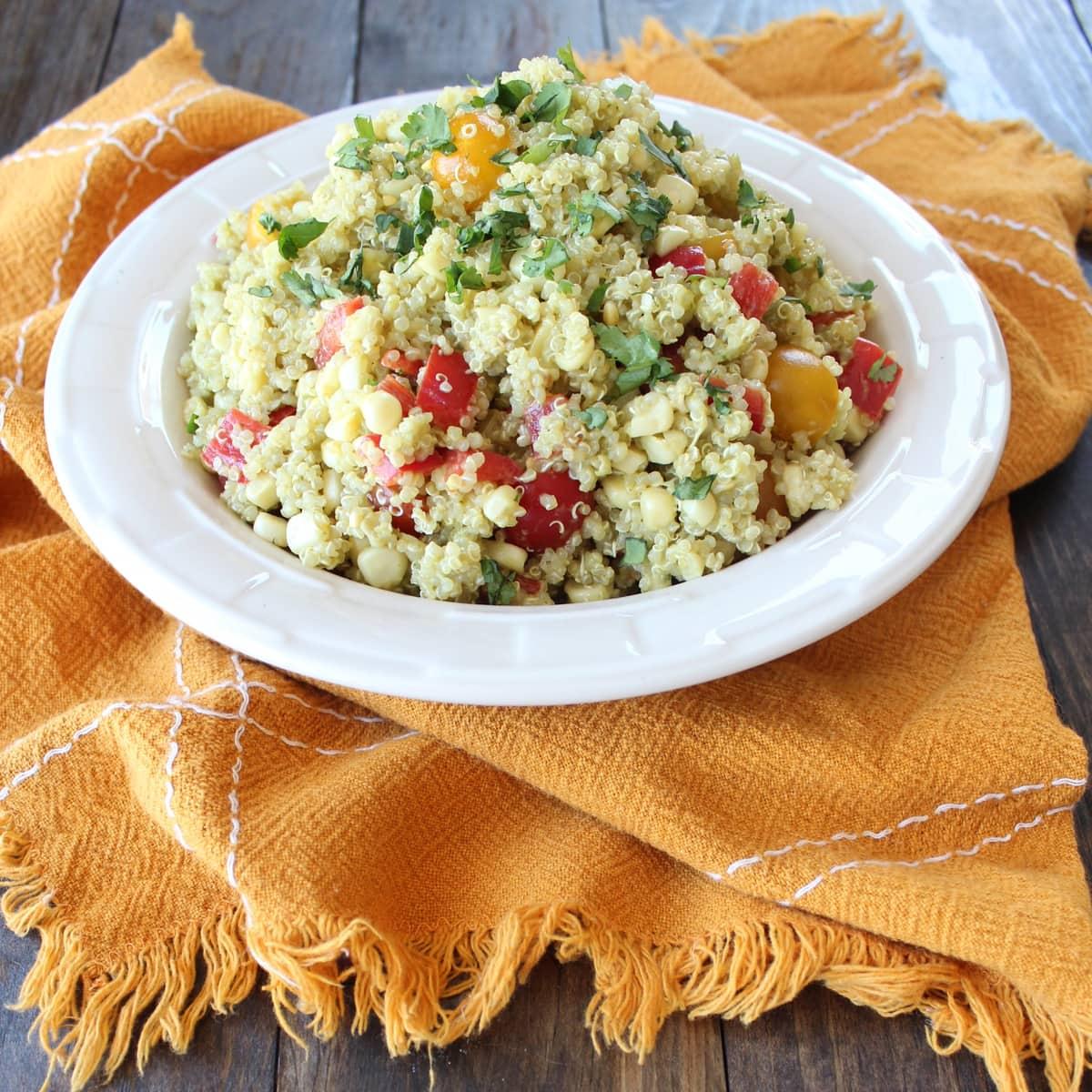 Quinoa Corn Salad with Avocado Dressing