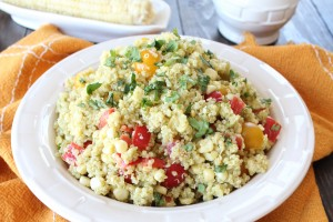 Quinoa Corn Salad with Creamy Avocado Dressing