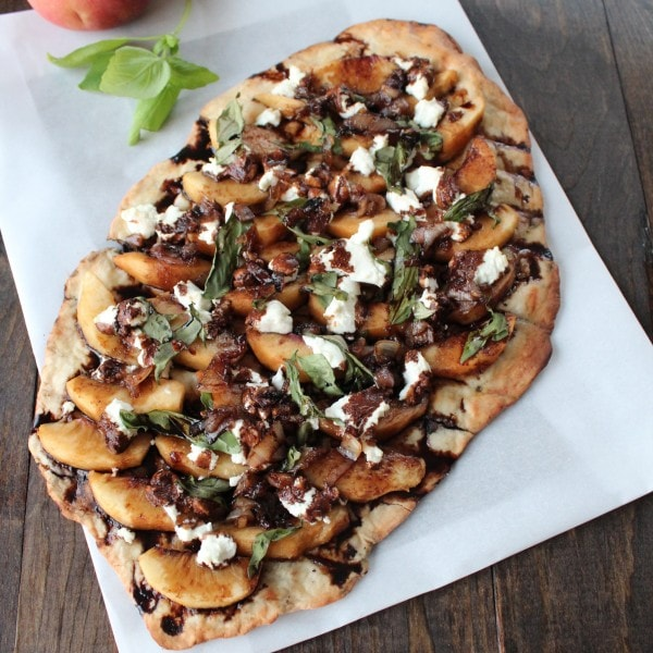 Grilled Peach and Goat Cheese Flatbread