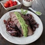 Grilled Tri Tip with Arugula Blue Cheese Pesto