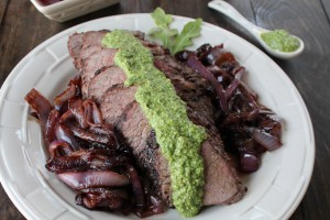 Grilled Tri Tip Steak with Arugula Pesto