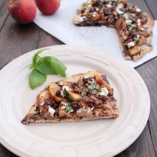Grilled Peach Flatbread with Goat Cheese