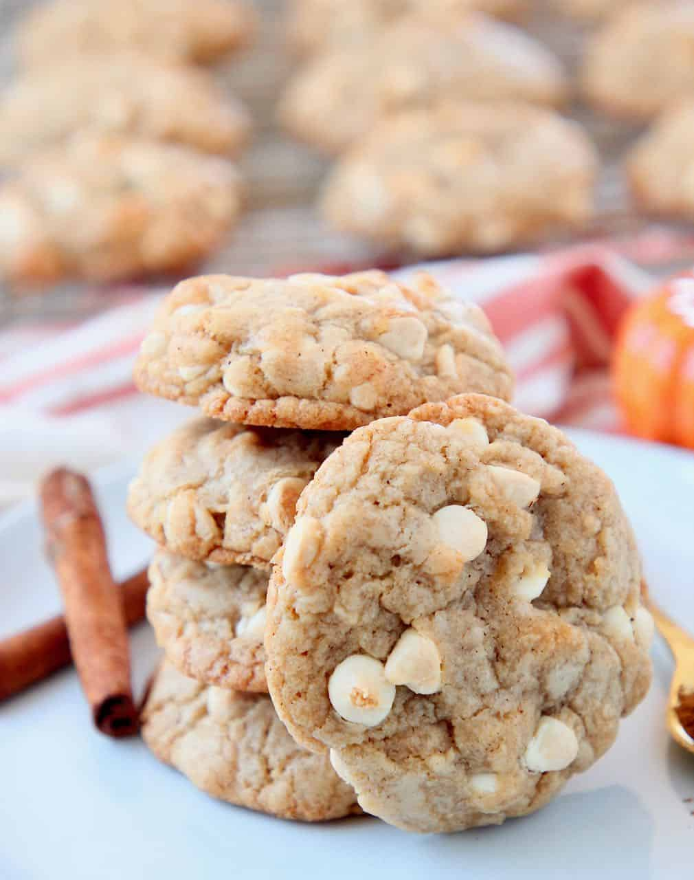 Pumpkin spice cookies with white chocolate chips on plate