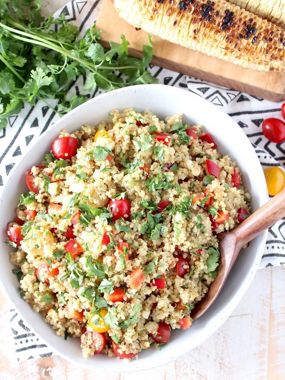 Vegan Quinoa Corn Salad with Avocado Dressing