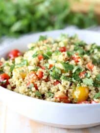 Vegan Quinoa Corn Salad with Cherry Tomatoes and Cilantro