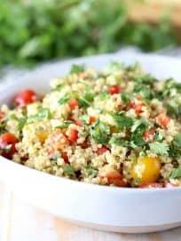 Vegan Quinoa Corn Salad with Cherry Tomatoes and Cilantro