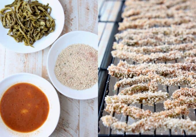 Collage of images showing how to make crispy cactus strips