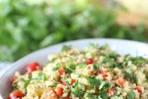 Vegan and Gluten Free Quinoa Corn Salad with Avocado Dressing