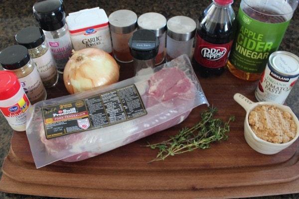 Dr Pepper BBQ Slow Cooker Pulled Pork Tenderloin Ingredients