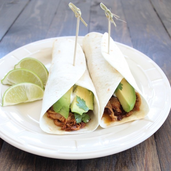 Chipotle Honey Pulled Pork Tacos with Avocado
