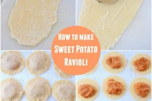 Collage of images making sweet potato raviolis