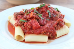 Pasta with Roasted Tomato Bolognese