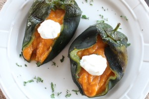 Butternut Squash Stuffed Poblano Peppers