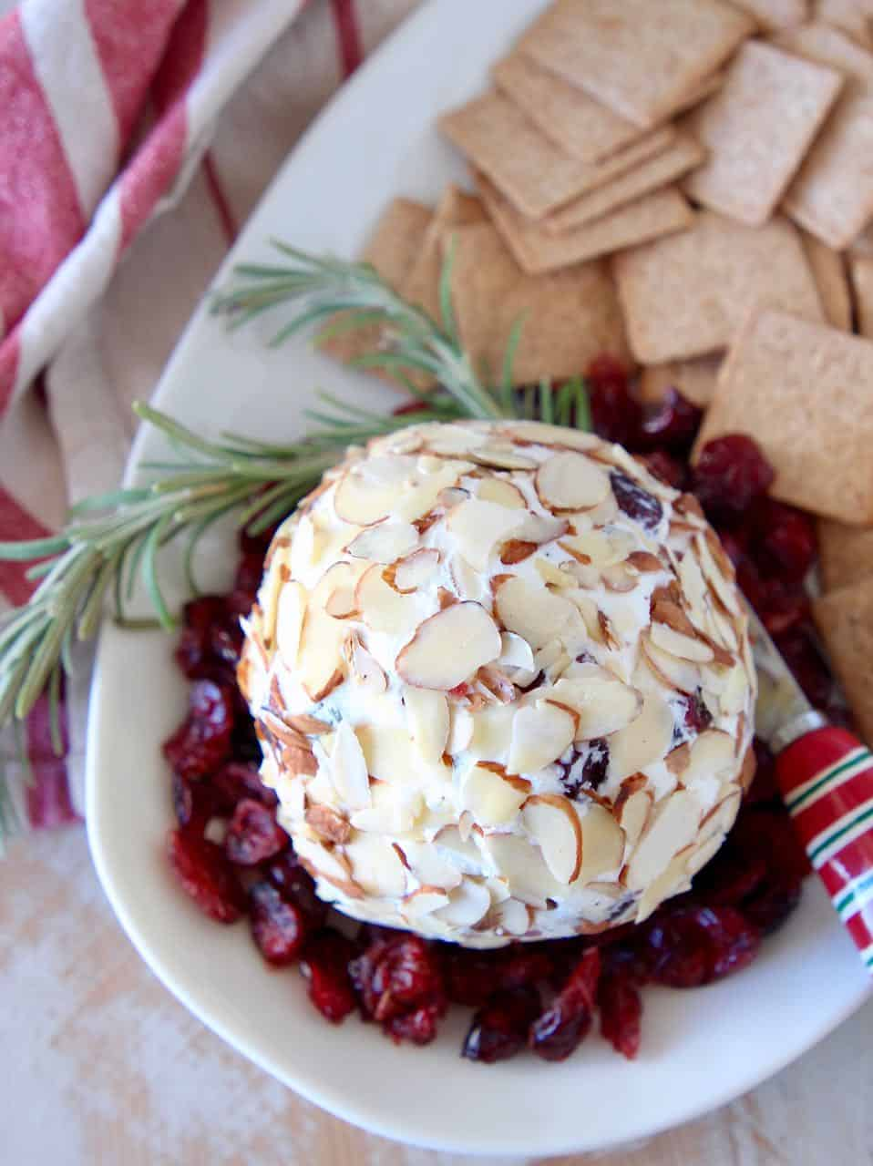 Goat cheese ball on plate with dried cranberries, rosemary sprigs and crackers