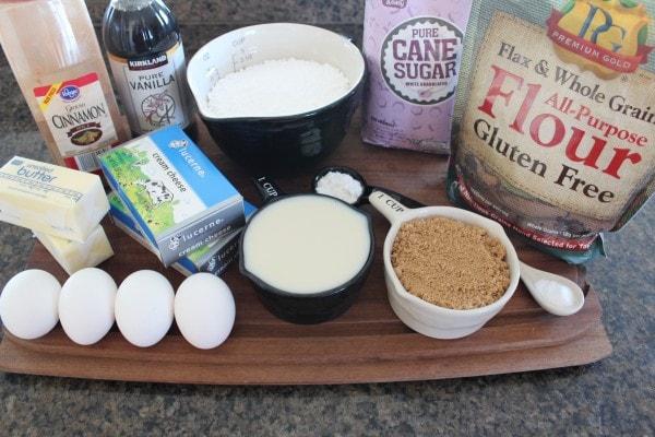 Gluten Free Cinnamon Roll Cupcake Ingredients