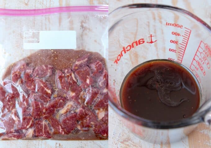 beef marinating in zipper bag and stir fry sauce in glass measuring cup