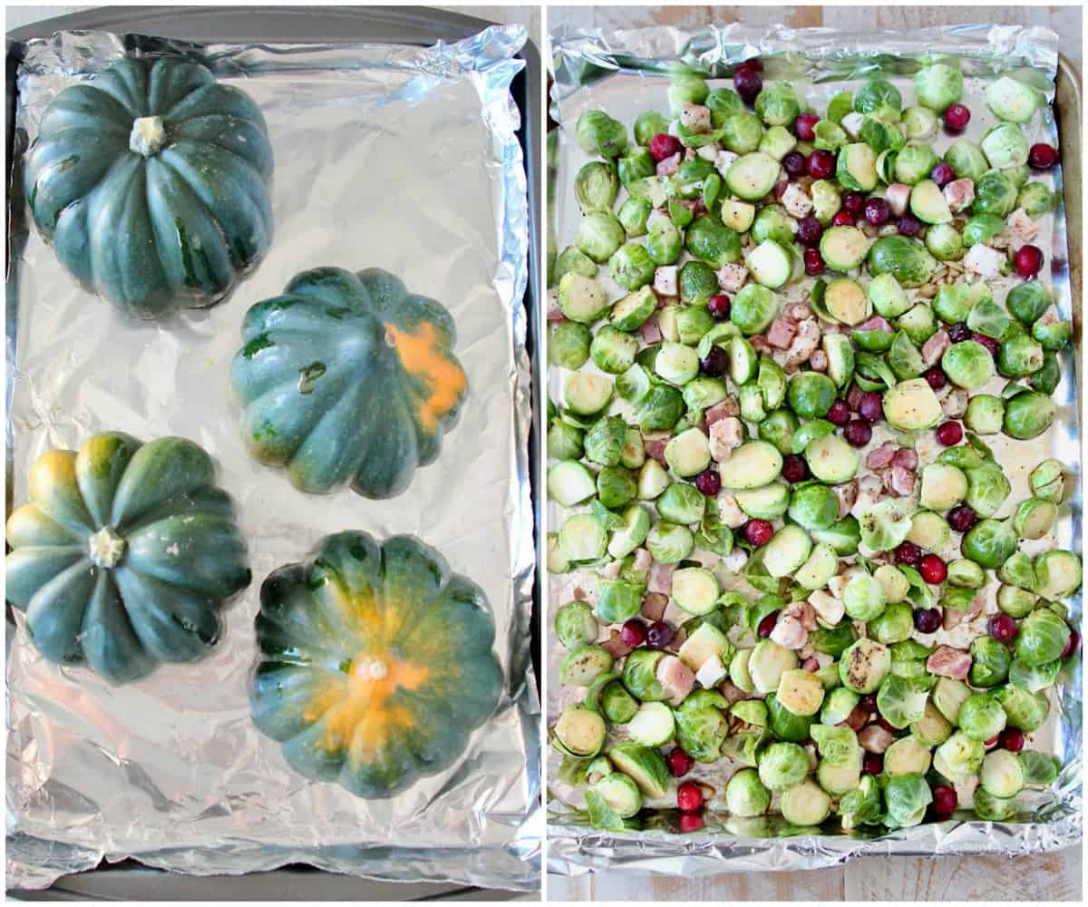 Instructional images how to make roasted brussels sprout stuffed acorn squash