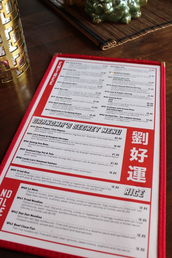 Lucky Liu's Chinese Restaurant Menu