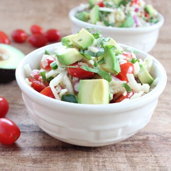 Spiralized Jicama Avocado Salad